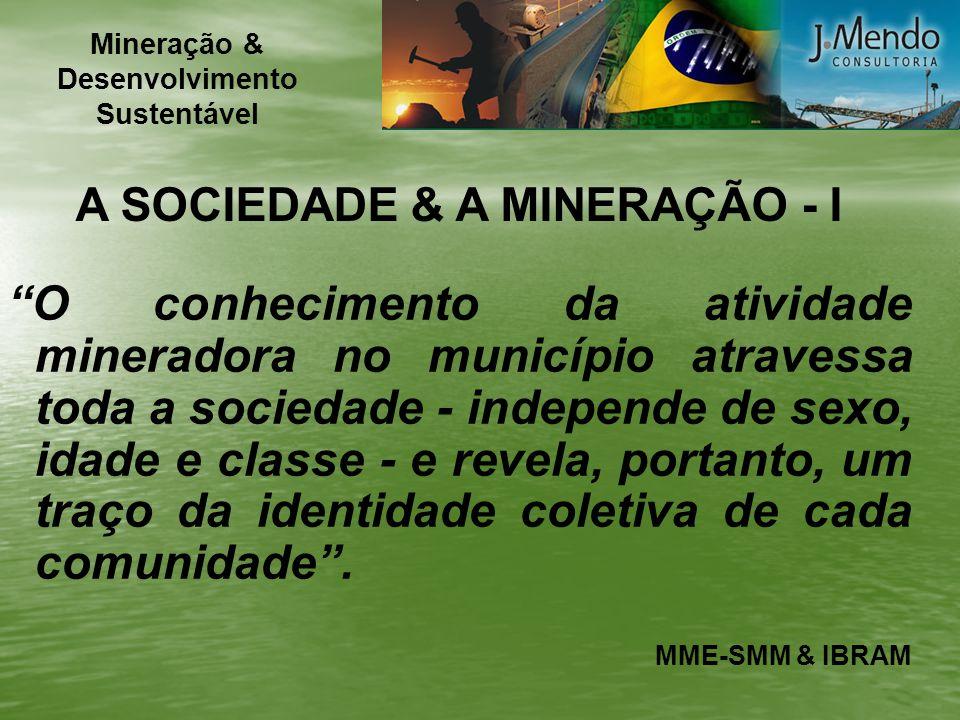 A SOCIEDADE & A MINERAÇÃO - II Do mesmo modo, chama a atenção o fato de 1/4 da população não atribuir grande importância para a sua qualidade de vida a nenhum dos principais produtos minerais brasileiros.