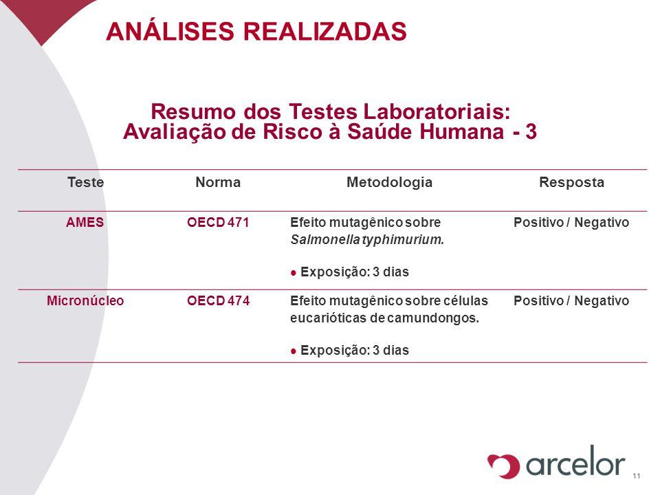 11 ANÁLISES REALIZADAS Resumo dos Testes Laboratoriais: Avaliação de Risco à Saúde Humana - 3 TesteNormaMetodologiaResposta AMESOECD 471Efeito mutagên