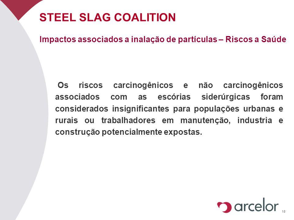 18 STEEL SLAG COALITION Os riscos carcinogênicos e não carcinogênicos associados com as escórias siderúrgicas foram considerados insignificantes para