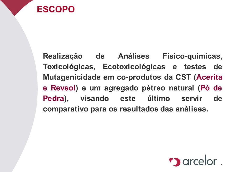 3 ESCOPO Realização de Análises Fisico-químicas, Toxicológicas, Ecotoxicológicas e testes de Mutagenicidade em co-produtos da CST (Acerita e Revsol) e