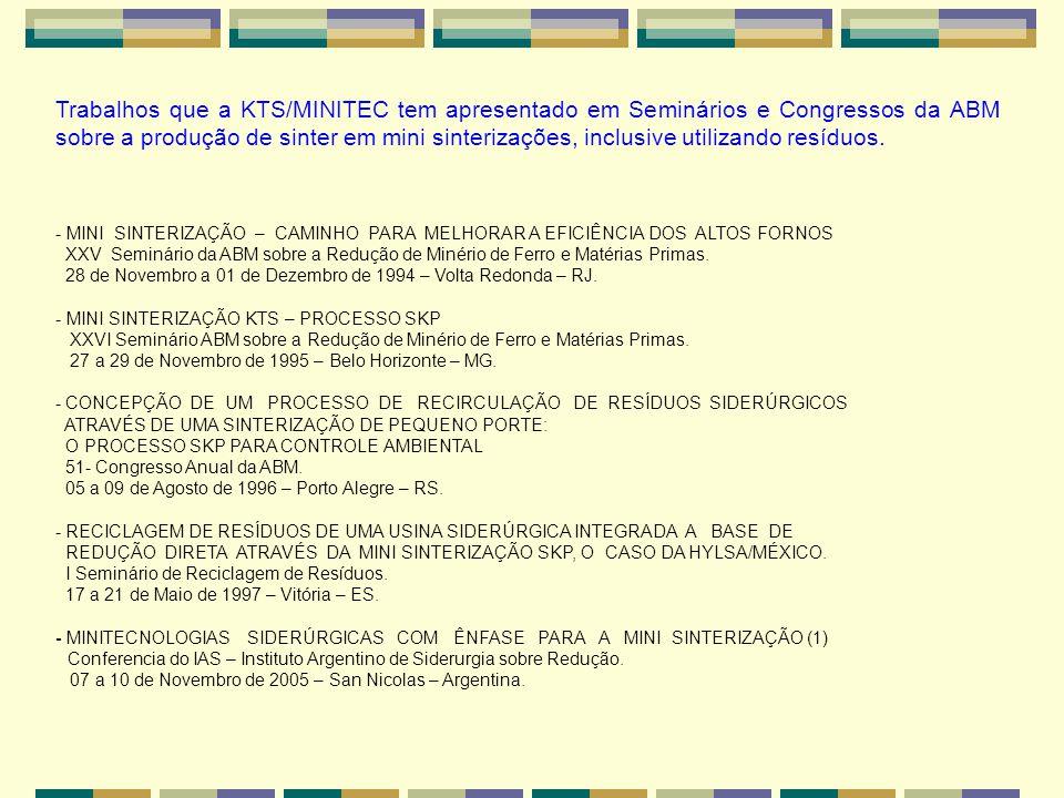 MINI SINTERIZAÇÕES TIPO CARROSSEL EM OPERAÇÃO E POSTA EM MARCHA.