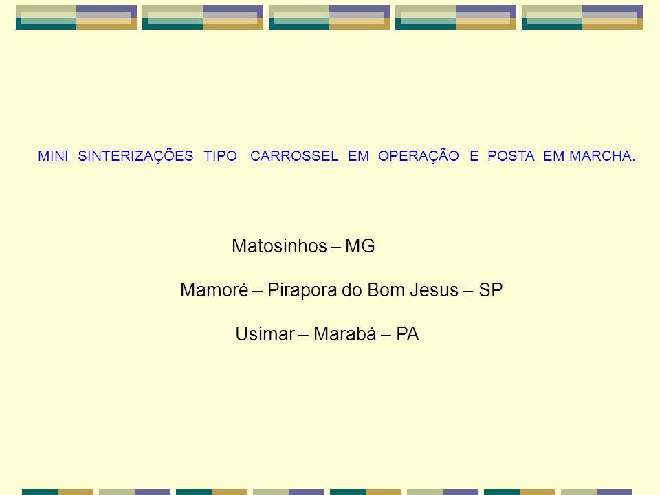 MINI SINTERIZAÇÕES TIPO CARROSSEL EM OPERAÇÃO E POSTA EM MARCHA. Matosinhos – MG Mamoré – Pirapora do Bom Jesus – SP Usimar – Marabá – PA