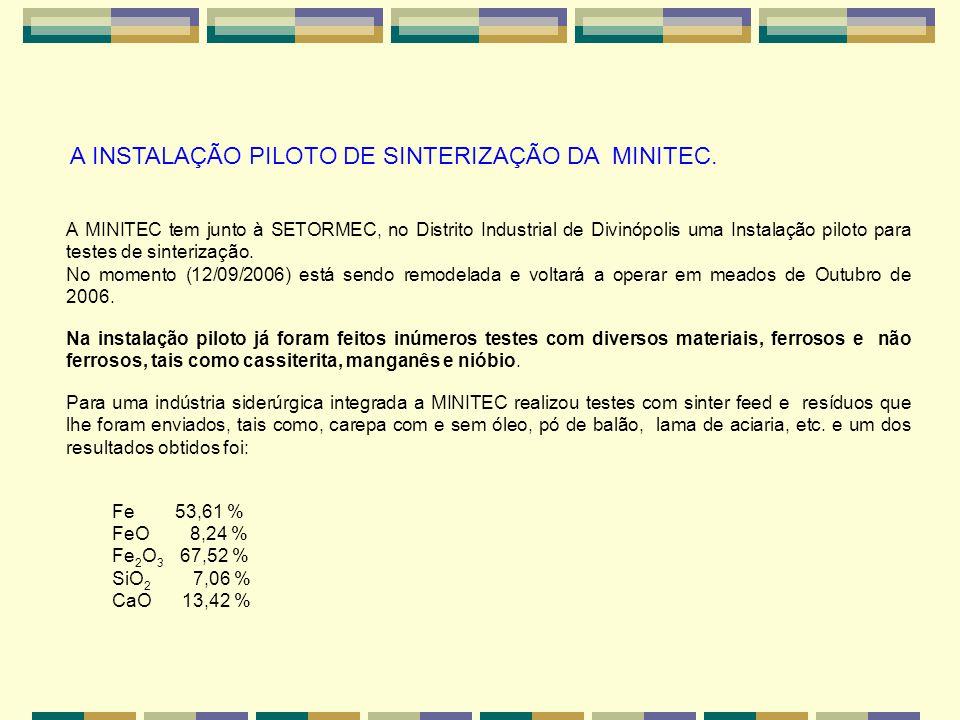 A INSTALAÇÃO PILOTO DE SINTERIZAÇÃO DA MINITEC. A MINITEC tem junto à SETORMEC, no Distrito Industrial de Divinópolis uma Instalação piloto para teste