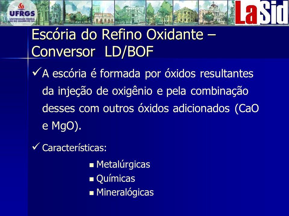 A escória é formada por óxidos resultantes da injeção de oxigênio e pela combinação desses com outros óxidos adicionados (CaO e MgO).