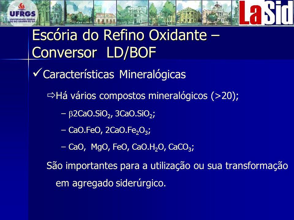 Características Mineralógicas Há vários compostos mineralógicos (>20); – – 2CaO.SiO 2, 3CaO.SiO 2 ; – –CaO.FeO, 2CaO.Fe 2 O 3 ; – –CaO, MgO, FeO, CaO.H 2 O, CaCO 3 ; São importantes para a utilização ou sua transformação em agregado siderúrgico.