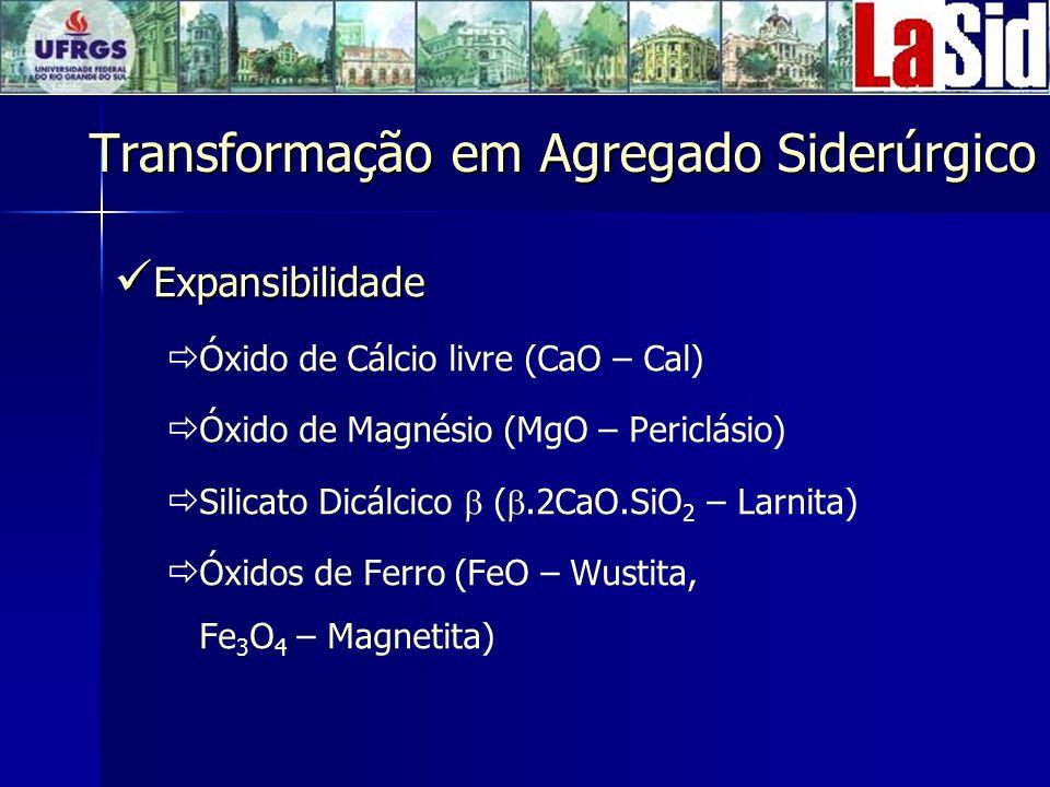 Expansibilidade Expansibilidade Óxido de Cálcio livre (CaO – Cal) Óxido de Magnésio (MgO – Periclásio) Silicato Dicálcico (.2CaO.SiO 2 – Larnita) Óxidos de Ferro (FeO – Wustita, Fe 3 O 4 – Magnetita) Transformação em Agregado Siderúrgico