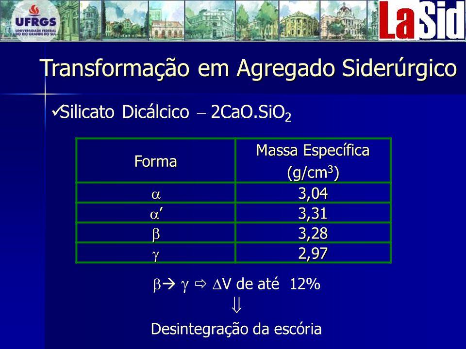 Silicato Dicálcico 2CaO.SiO 2 Forma Massa Específica (g/cm 3 ) 3,04 3,31 3,28 2,97 V de até 12% Desintegração da escória Transformação em Agregado Siderúrgico