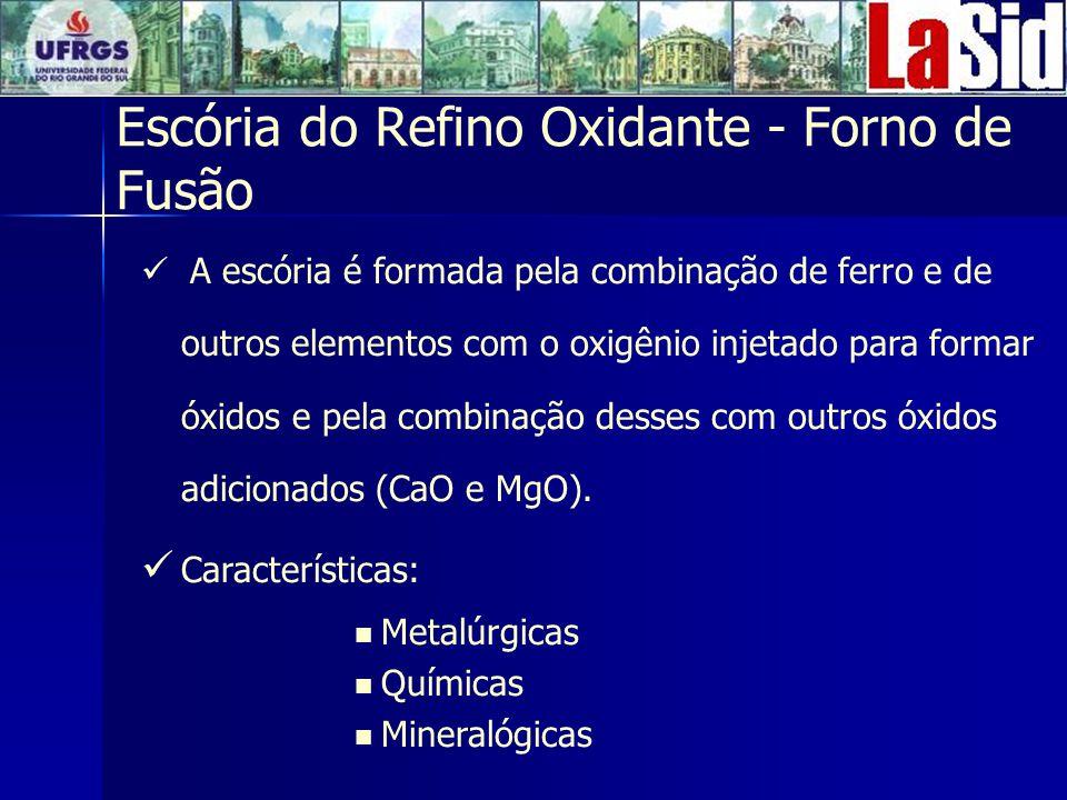 Escória do Refino Oxidante - Forno de Fusão A escória é formada pela combinação de ferro e de outros elementos com o oxigênio injetado para formar óxidos e pela combinação desses com outros óxidos adicionados (CaO e MgO).