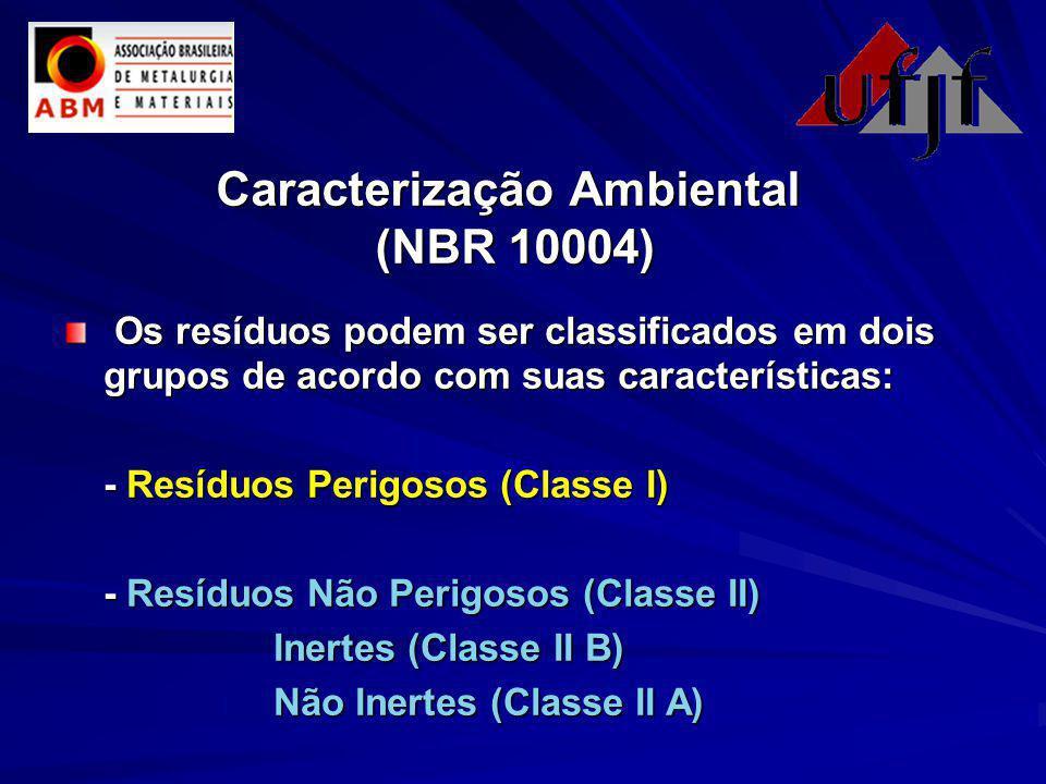 Caracterização Ambiental (NBR 10004) Os resíduos podem ser classificados em dois grupos de acordo com suas características: Os resíduos podem ser classificados em dois grupos de acordo com suas características: - Resíduos Perigosos (Classe I) - Resíduos Não Perigosos (Classe II) Inertes (Classe II B) Não Inertes (Classe II A)