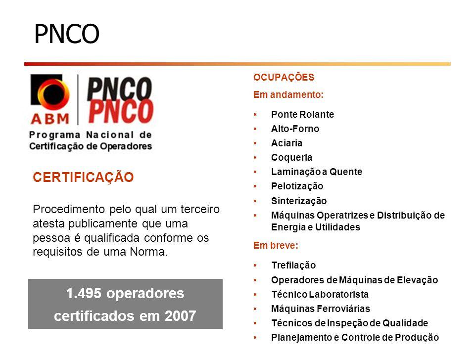 PNCO CERTIFICAÇÃO Procedimento pelo qual um terceiro atesta publicamente que uma pessoa é qualificada conforme os requisitos de uma Norma. 1.495 opera