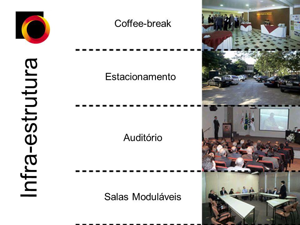 Coffee-break Estacionamento Auditório Salas Moduláveis Infra-estrutura