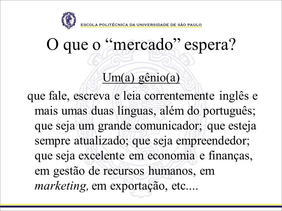 O que o mercado espera? Um(a) gênio(a) que fale, escreva e leia correntemente inglês e mais umas duas línguas, além do português; que seja um grande c