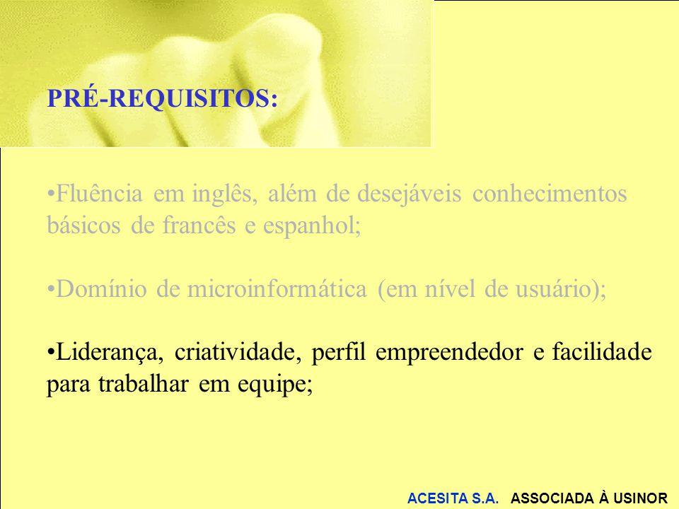 ACESITA S.A. ASSOCIADA À USINOR PRÉ-REQUISITOS: Fluência em inglês, além de desejáveis conhecimentos básicos de francês e espanhol; Domínio de microin