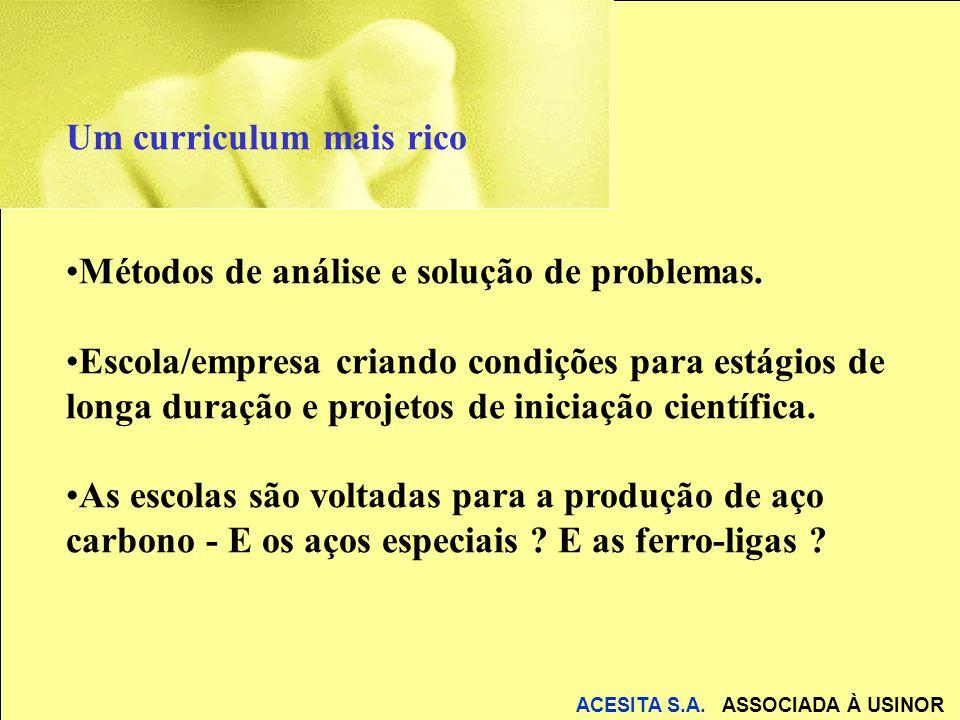 ACESITA S.A. ASSOCIADA À USINOR Um curriculum mais rico Métodos de análise e solução de problemas. Escola/empresa criando condições para estágios de l