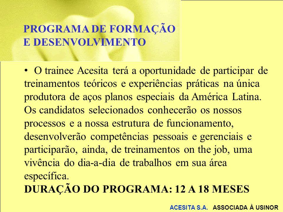 O trainee Acesita terá a oportunidade de participar de treinamentos teóricos e experiências práticas na única produtora de aços planos especiais da Am