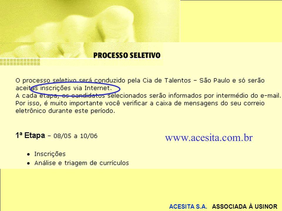 ACESITA S.A.ASSOCIADA À USINOR A ESCOLA: Disponibilizar hardware para os alunos.