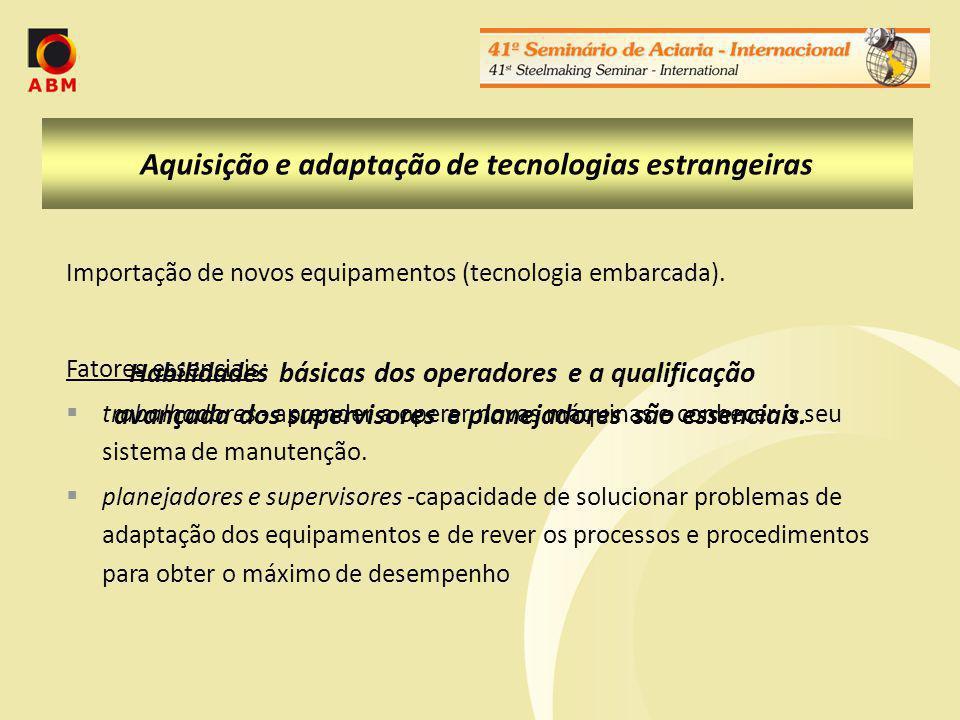 Aquisição e adaptação de tecnologias estrangeiras Importação de novos equipamentos (tecnologia embarcada).