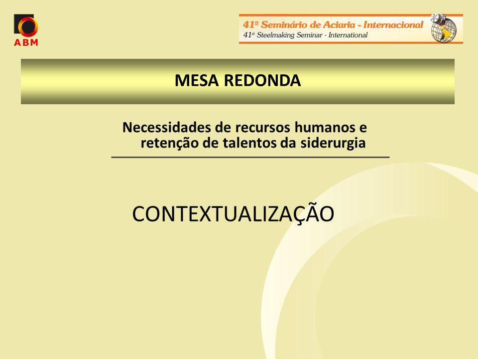MESA REDONDA CONTEXTUALIZAÇÃO Necessidades de recursos humanos e retenção de talentos da siderurgia