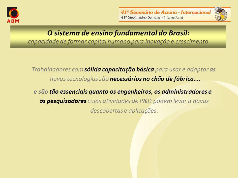 O sistema de ensino fundamental do Brasil: capacidade de formar capital humano para inovação e crescimento Trabalhadores com sólida capacitação básica para usar e adaptar as novas tecnologias são necessários no chão de fábrica....