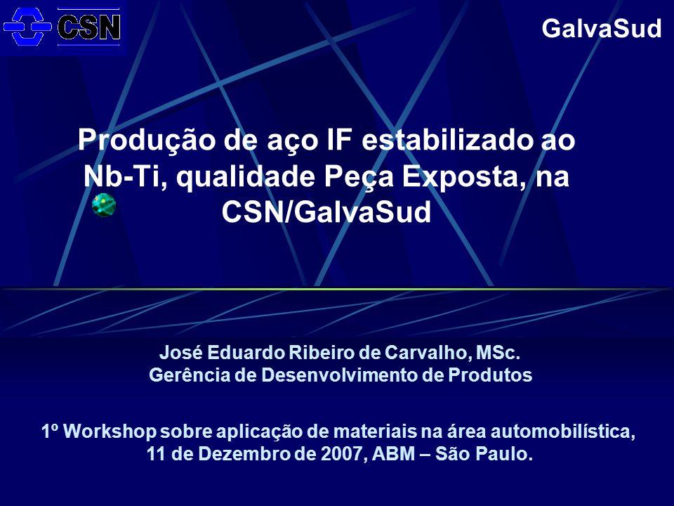 GalvaSud Produção de aço IF estabilizado ao Nb-Ti, qualidade Peça Exposta, na CSN/GalvaSud 1º Workshop sobre aplicação de materiais na área automobilística, 11 de Dezembro de 2007, ABM – São Paulo.