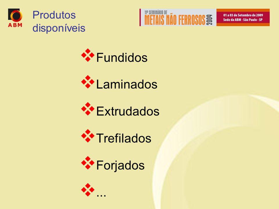 Fundidos Laminados Extrudados Trefilados Forjados... Produtos disponíveis