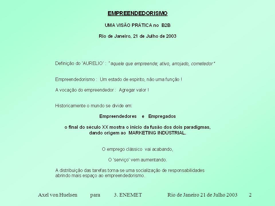 Axel von Huelsen para 3. ENEMET Rio de Janeiro 21 de Julho 20032
