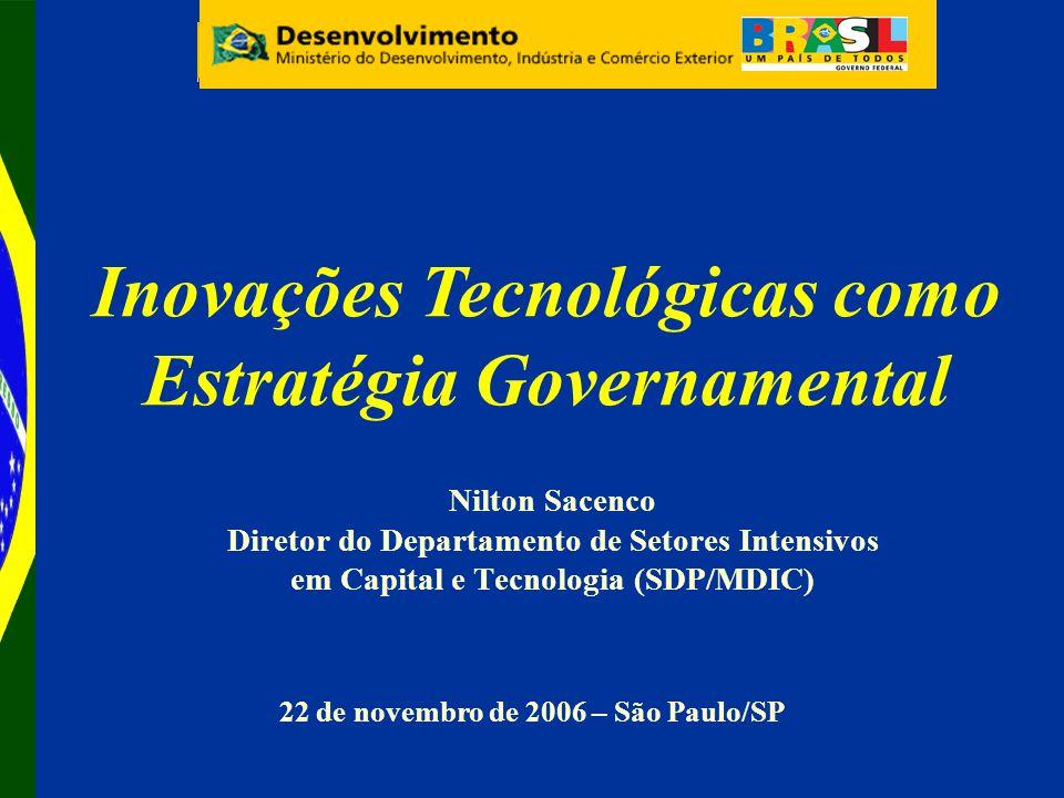 Nilton Sacenco Diretor do Departamento de Setores Intensivos em Capital e Tecnologia (SDP/MDIC) 22 de novembro de 2006 – São Paulo/SP Inovações Tecnológicas como Estratégia Governamental