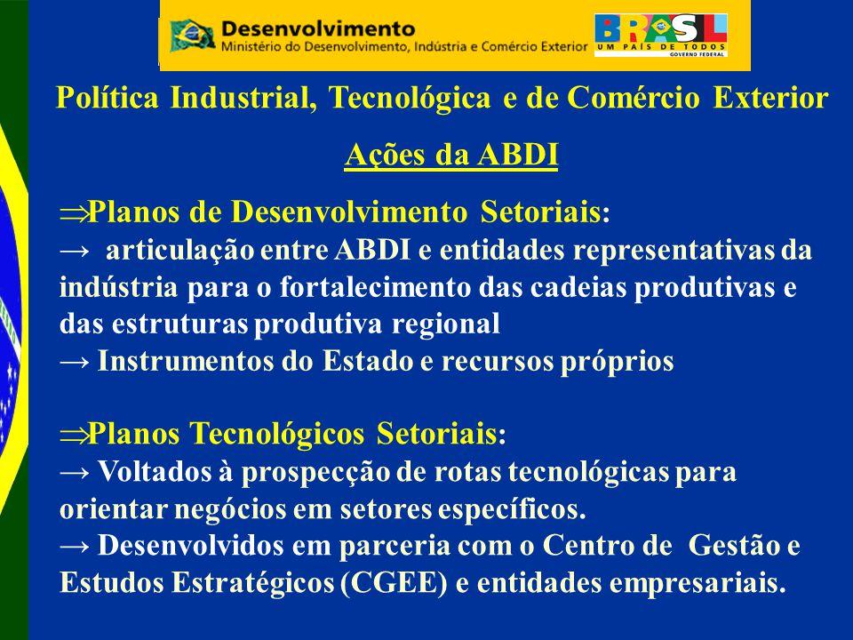 Ações da ABDI Política Industrial, Tecnológica e de Comércio Exterior Planos Tecnológicos Setoriais : Voltados à prospecção de rotas tecnológicas para orientar negócios em setores específicos.