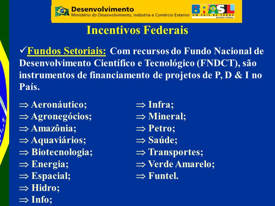Fundos Setoriais: Com recursos do Fundo Nacional de Desenvolvimento Científico e Tecnológico (FNDCT), são instrumentos de financiamento de projetos de P, D & I no País.