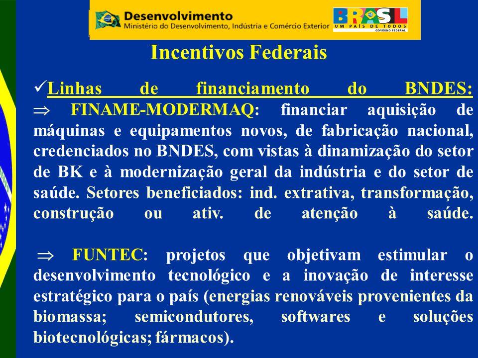 Linhas de financiamento do BNDES: FINAME-MODERMAQ: financiar aquisição de máquinas e equipamentos novos, de fabricação nacional, credenciados no BNDES, com vistas à dinamização do setor de BK e à modernização geral da indústria e do setor de saúde.