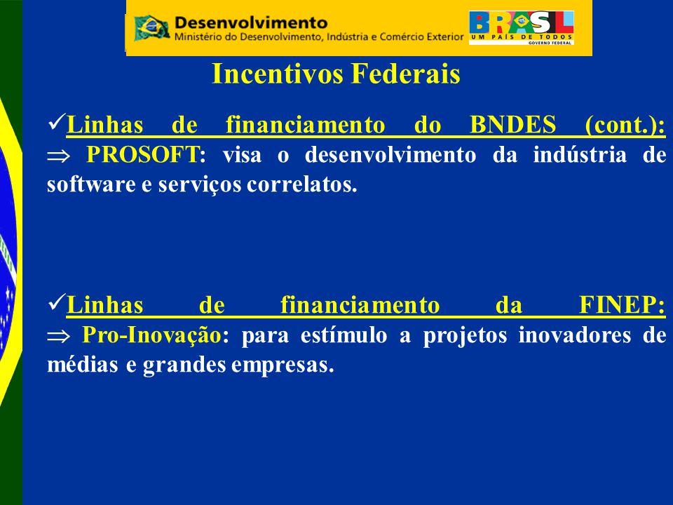 Linhas de financiamento do BNDES (cont.): PROSOFT: visa o desenvolvimento da indústria de software e serviços correlatos.
