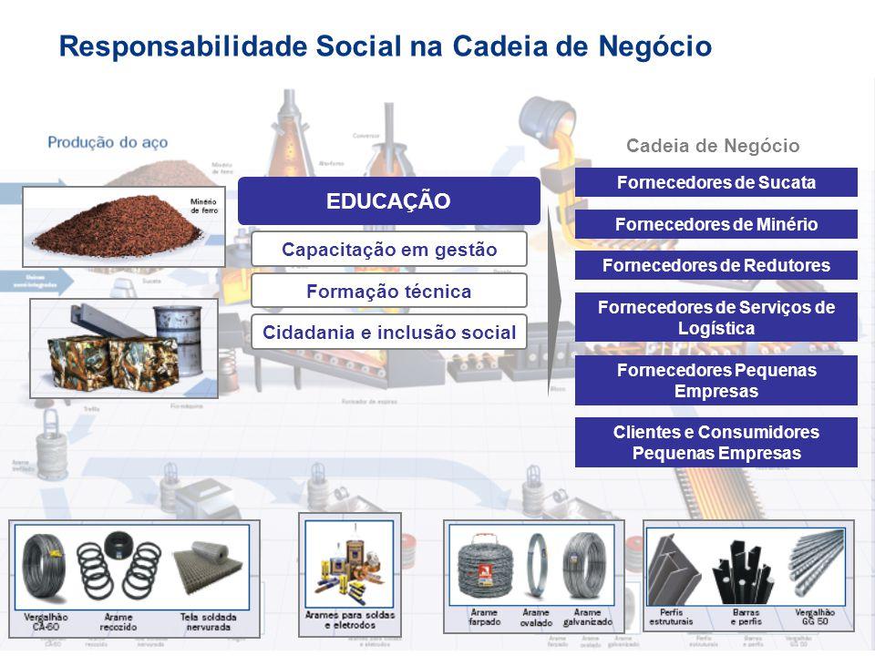 EDUCAÇÃO Fornecedores de Sucata Fornecedores de Serviços de Logística Fornecedores Pequenas Empresas Clientes e Consumidores Pequenas Empresas Cadeia