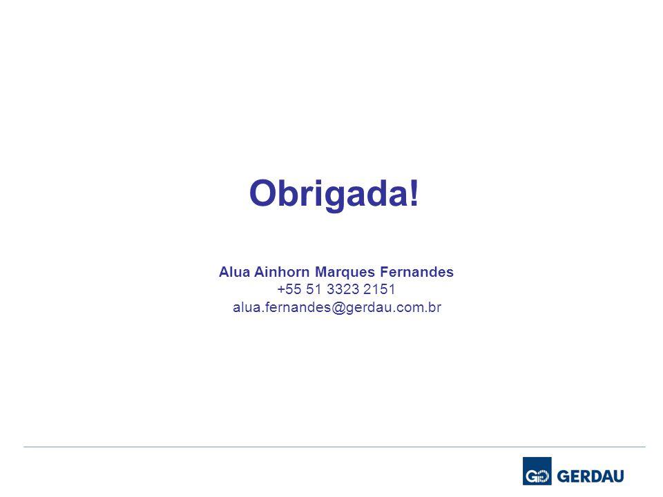 Obrigada! Alua Ainhorn Marques Fernandes +55 51 3323 2151 alua.fernandes@gerdau.com.br