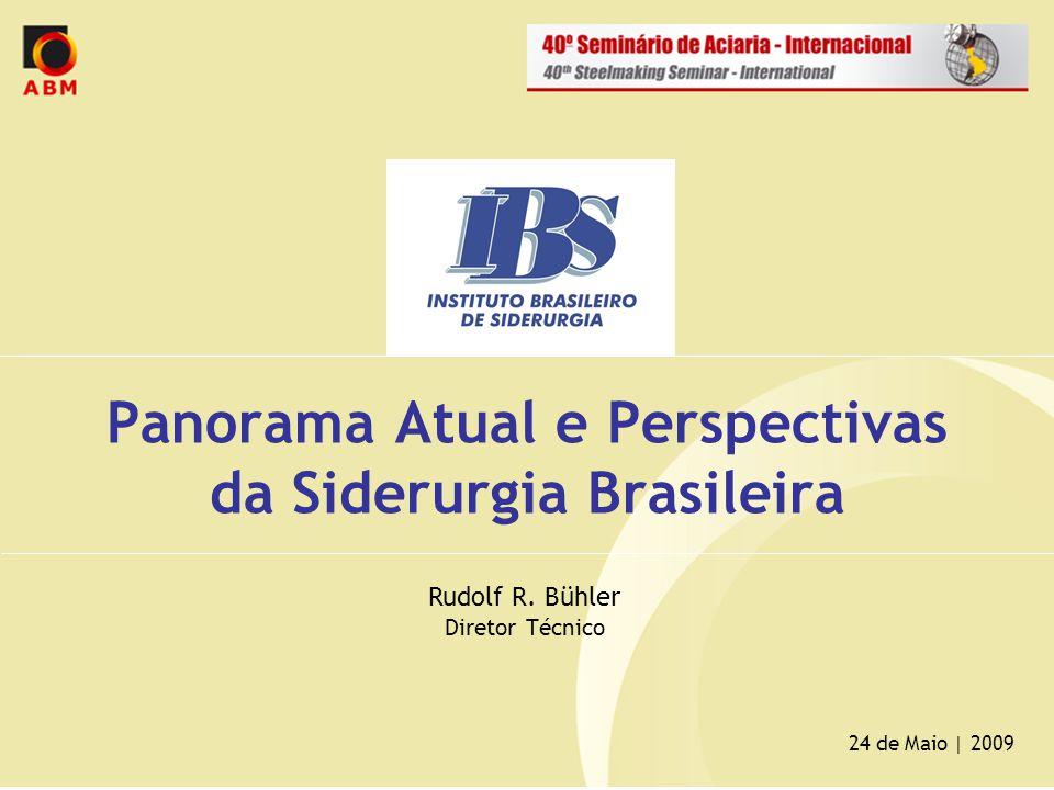 Panorama Atual e Perspectivas da Siderurgia Brasileira 24 de Maio | 2009 Rudolf R. Bühler Diretor Técnico