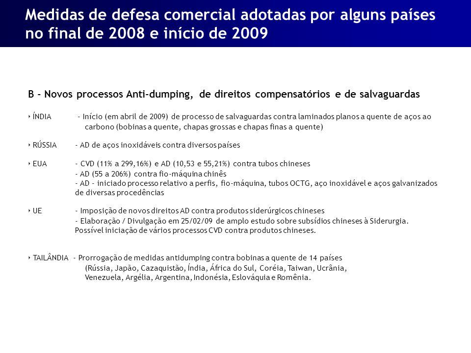 B - Novos processos Anti-dumping, de direitos compensatórios e de salvaguardas ÍNDIA - Início (em abril de 2009) de processo de salvaguardas contra la