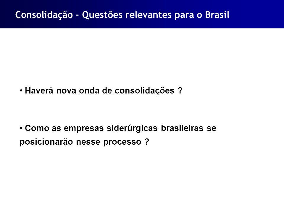 Consolidação – Questões relevantes para o Brasil Haverá nova onda de consolidações ? Como as empresas siderúrgicas brasileiras se posicionarão nesse p