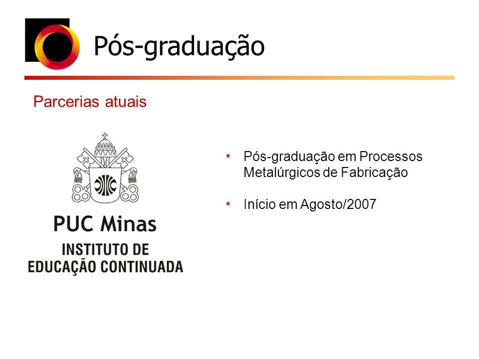 Pós-graduação Parcerias atuais Pós-graduação em Processos Metalúrgicos de Fabricação Início em Agosto/2007