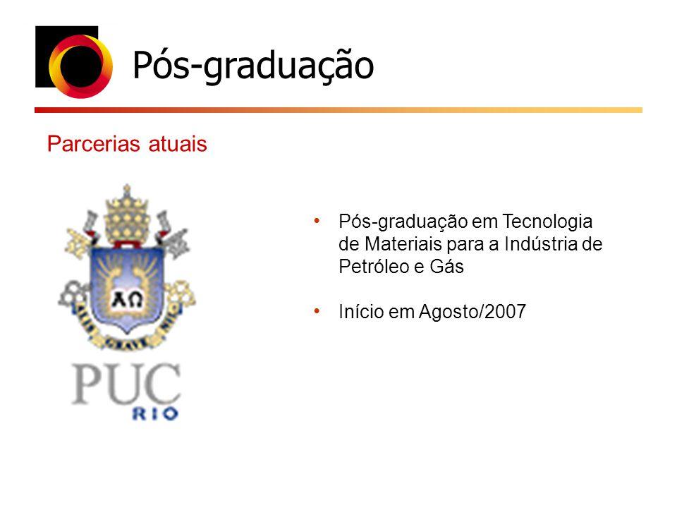 Pós-graduação Parcerias atuais Pós-graduação em Tecnologia de Materiais para a Indústria de Petróleo e Gás Início em Agosto/2007