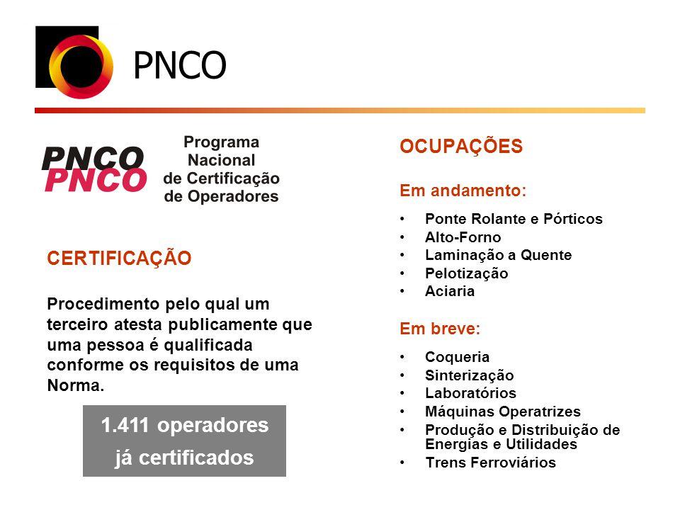 PNCO CERTIFICAÇÃO Procedimento pelo qual um terceiro atesta publicamente que uma pessoa é qualificada conforme os requisitos de uma Norma. 1.411 opera