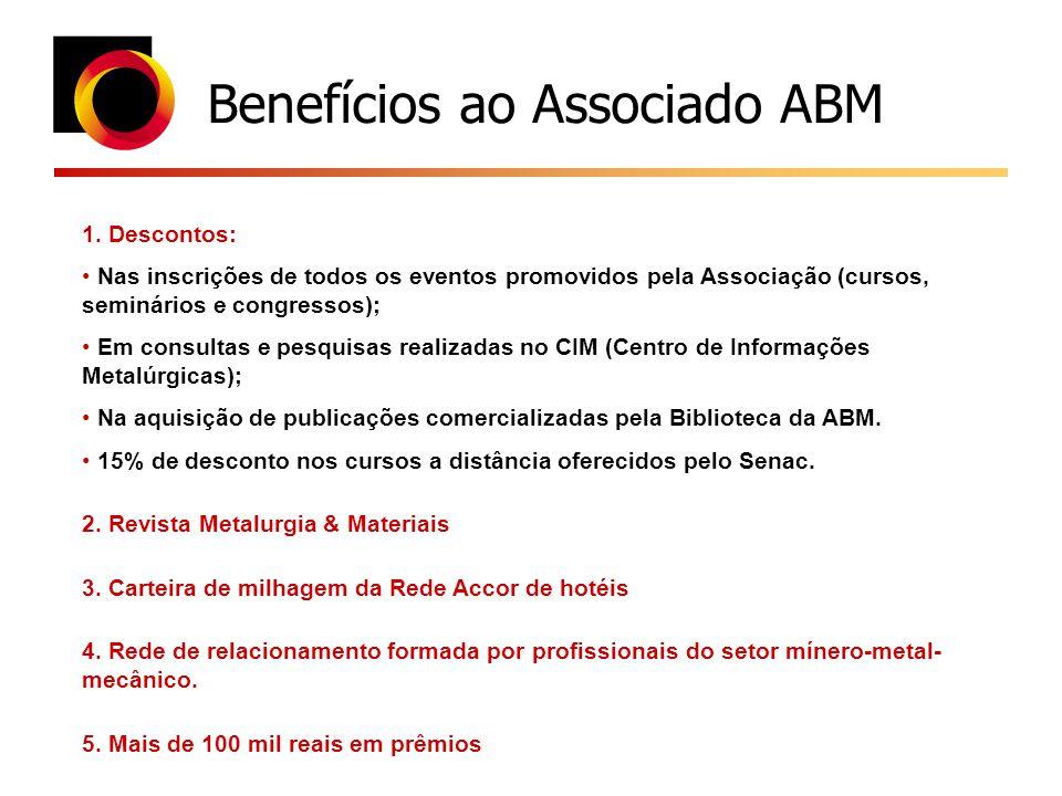 Benefícios ao Associado ABM 1. Descontos: Nas inscrições de todos os eventos promovidos pela Associação (cursos, seminários e congressos); Em consulta