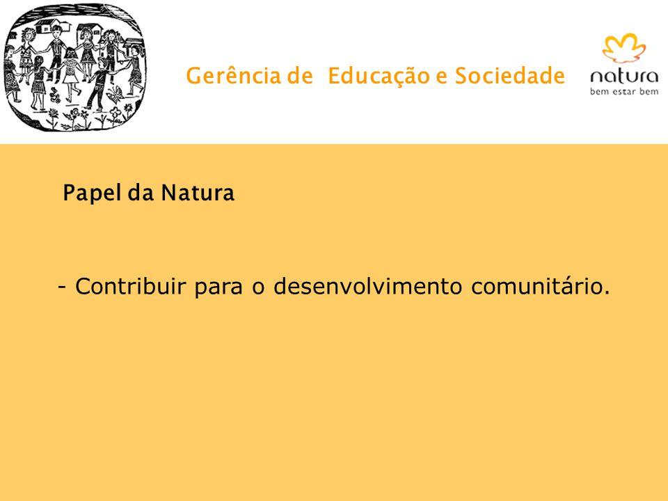 - Contribuir para o desenvolvimento comunitário. Papel da Natura Gerência de Educação e Sociedade
