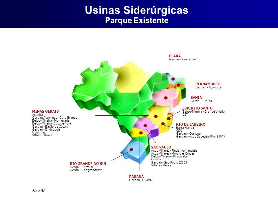 CEARÁ Gerdau - Cearense PERNAMBUCO Gerdau - Açonorte BAHIA Gerdau - Usiba RIO DE JANEIRO Barra Mansa CSN Gerdau - Cosigua Gerdau - Aços Especiais Rio (2007) SÃO PAULO Aços Villares - Pindamonhangaba Aços Villares - Mogi das Cruzes Belgo-Mineira - Piracicaba Cosipa Gerdau - São Paulo (2005) Villares Metals PARANÁ Gerdau - Guaíra RIO GRANDE DO SUL Gerdau - Piratini Gerdau - Riograndense MINAS GERAIS Acesita Gerdau Açominas - Ouro Branco Belgo-Mineira - Monlevade Belgo-Mineira - Juiz de Fora Gerdau - Barão de Cocais Gerdau - Divinópolis Usiminas V&M do Brasil ESPÍRITO SANTO Belgo-Mineira - Grande Vitória CST Fonte: IBS Usinas Siderúrgicas Parque Existente
