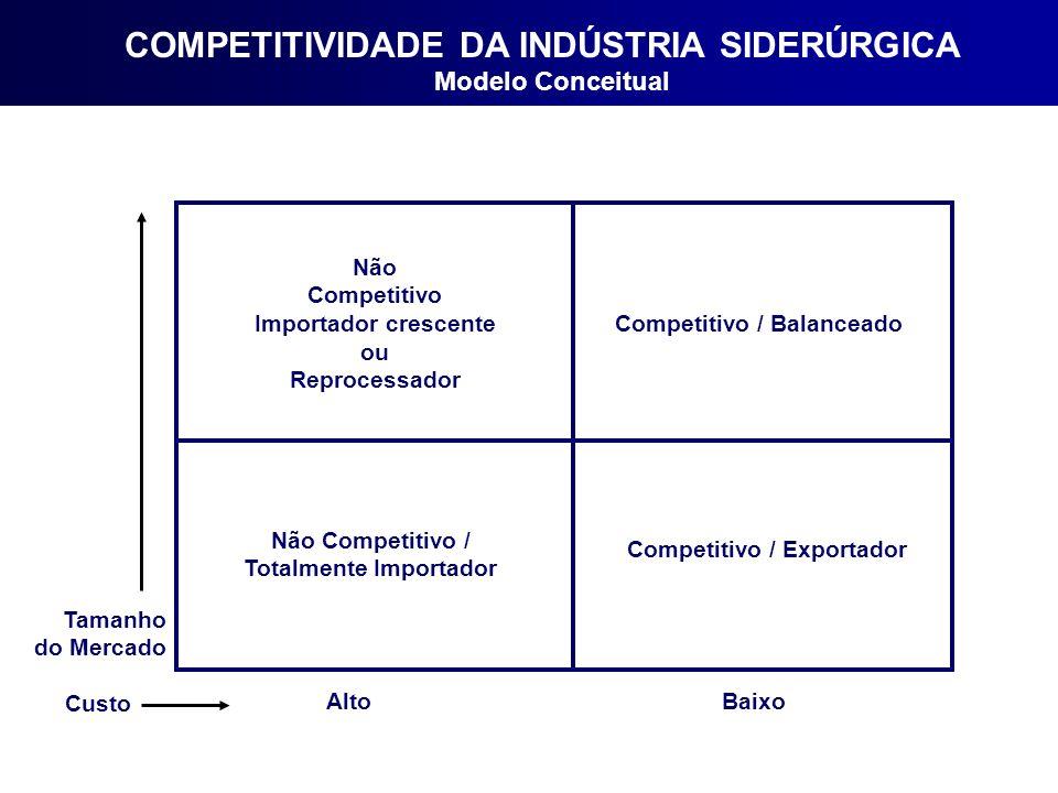 COMPETITIVIDADE DA INDÚSTRIA SIDERÚRGICA Modelo Conceitual Tamanho do Mercado Custo AltoBaixo Não Competitivo Importador crescente ou Reprocessador Competitivo / Balanceado Competitivo / Exportador Não Competitivo / Totalmente Importador