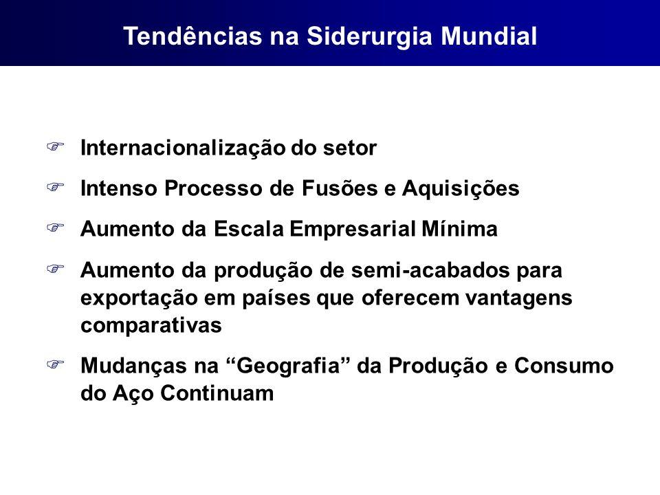 FInternacionalização do setor FIntenso Processo de Fusões e Aquisições FAumento da Escala Empresarial Mínima FAumento da produção de semi-acabados par