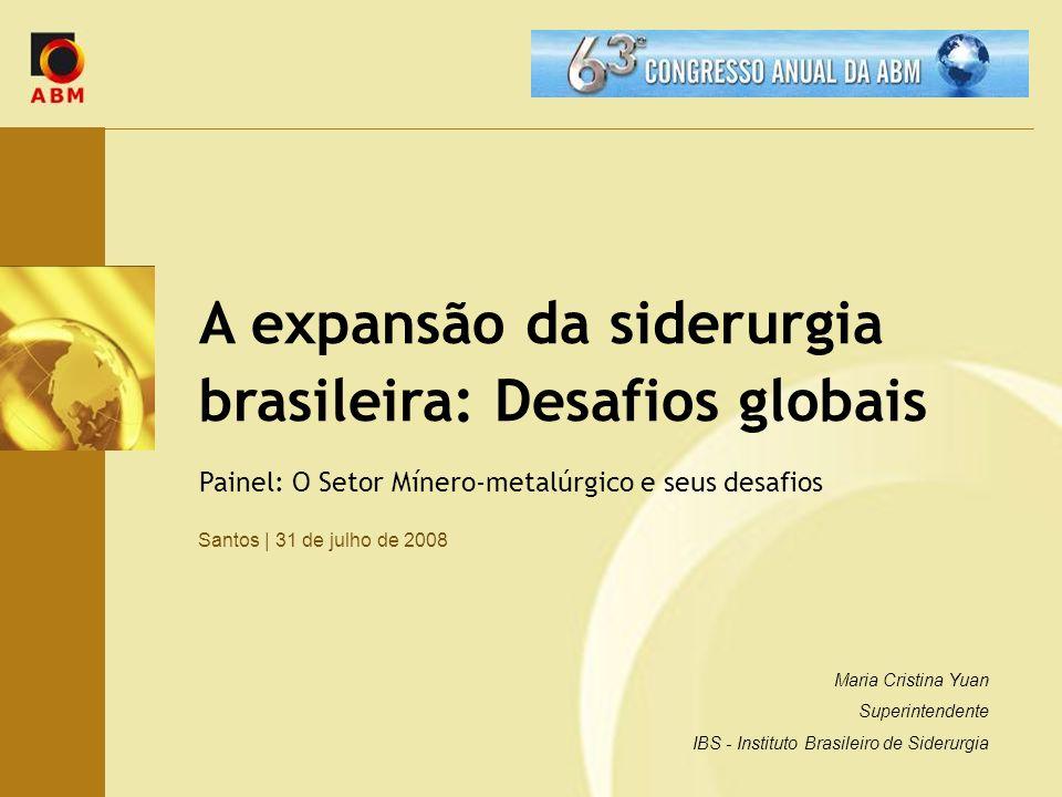 A expansão da siderurgia brasileira: Desafios globais Santos   31 de julho de 2008 Painel: O Setor Mínero-metalúrgico e seus desafios Maria Cristina Y