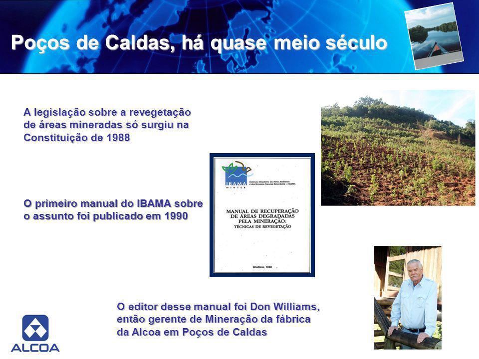 Poços de Caldas, há quase meio século A legislação sobre a revegetação de áreas mineradas só surgiu na Constituição de 1988 O primeiro manual do IBAMA