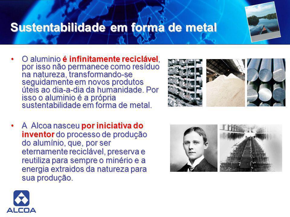 Sustentabilidade em forma de metal O aluminio é infinitamente reciclável, por isso não permanece como resíduo na natureza, transformando-se seguidamen