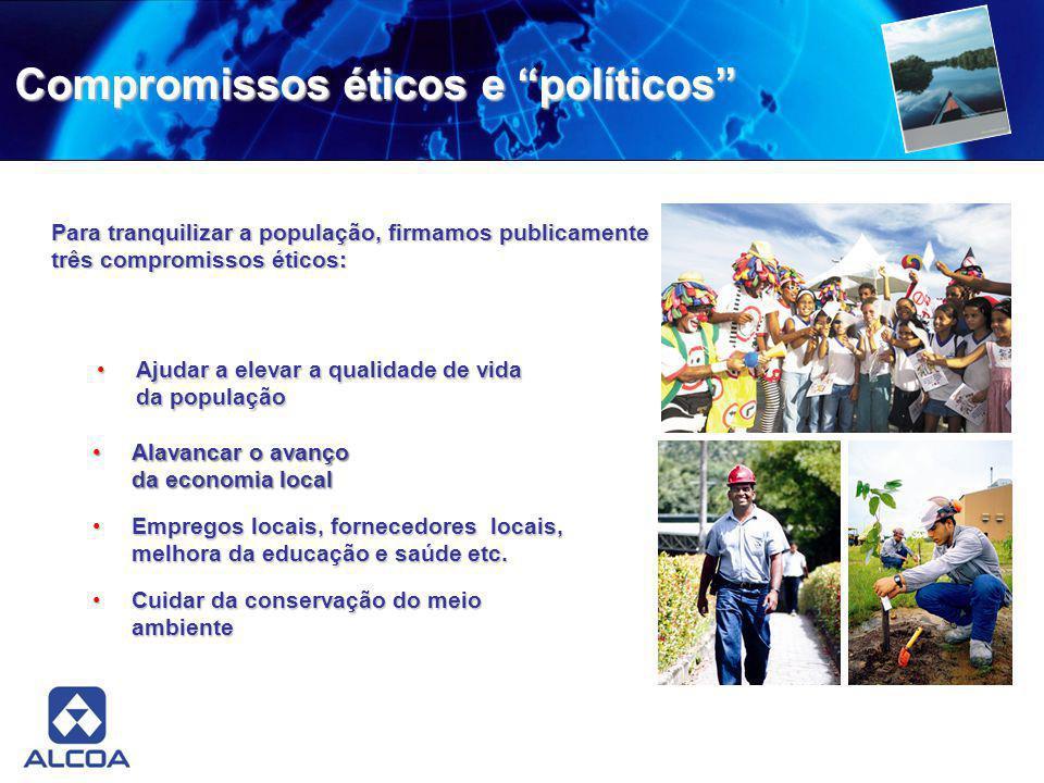 Compromissos éticos e políticos Para tranquilizar a população, firmamos publicamente três compromissos éticos: Alavancar o avanço da economia localAla