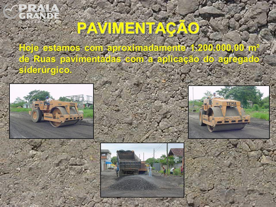 PAVIMENTAÇÃOPAVIMENTAÇÃO Hoje estamos com aproximadamente 1.200.000,00 m² de Ruas pavimentadas com a aplicação do agregado siderúrgico.