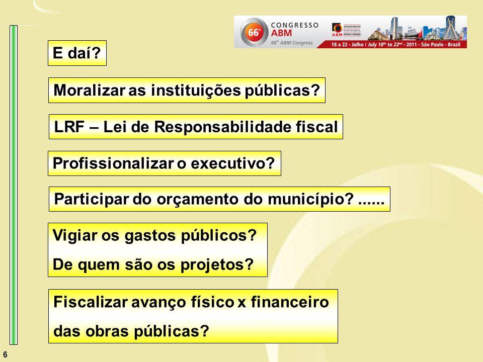 6 Profissionalizar o executivo. Participar do orçamento do município ......